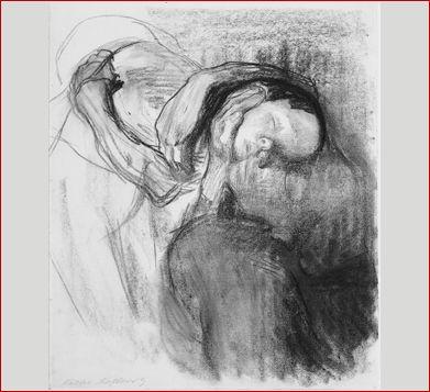 KÄTHE KOLLVITZ Morto, Mulher e Criança, 1910 Desenho