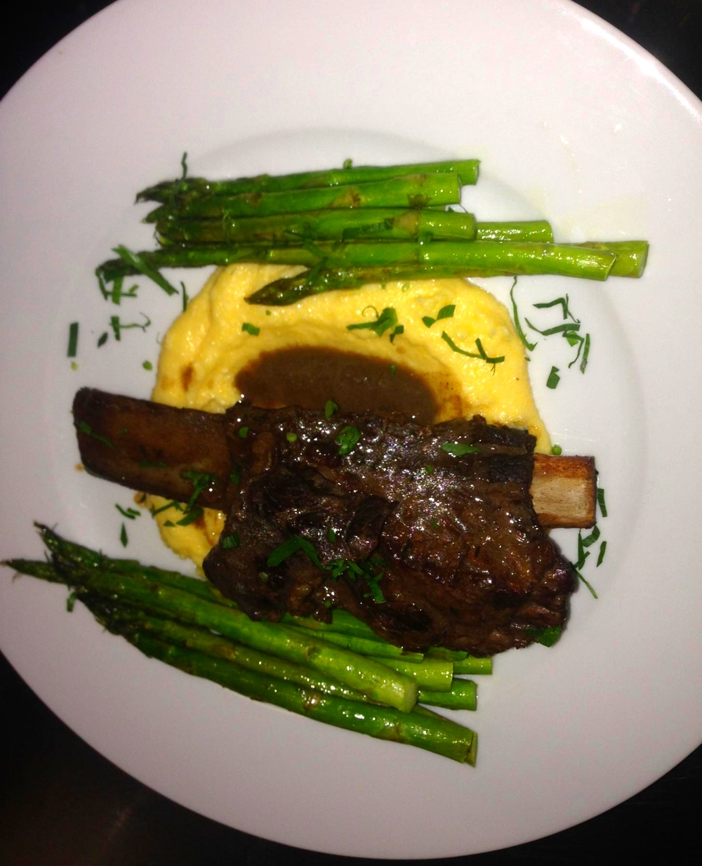 Upper Hudson Valley Short Ribs w/ new asparagus and morel gravy at BBC