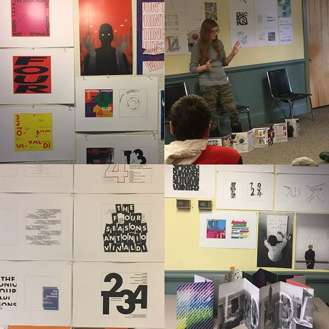 @margohalverson beginning Typography class where designers enter the world of making meaning through form and symbols, images, words, grids and systems well practiced! #MECAgd #mymecawork