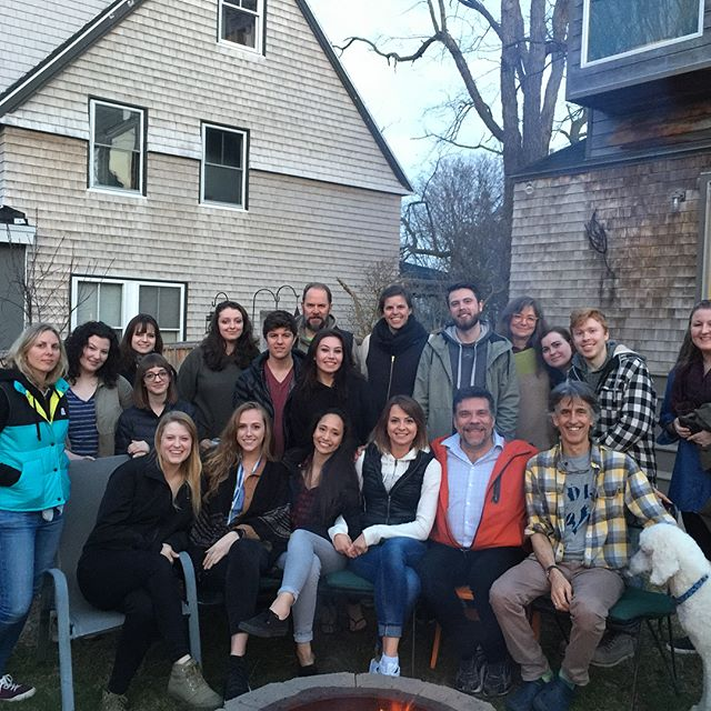 Class of 2018 and 2019 at the end of year bbq at @charlesmelcher and @margohalverson abode while #archiepoodle gets attention from tired seniors having just finished up thesis install. Opening this Friday!