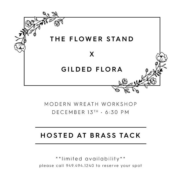 You asked, so @theflowerstand and I decided to make it happen! We all love traditional Christmas, but we wanted to change things up this year. Join us for an evening of modern wreath making with preserved elements that will last from year to year. $95 per person. Sips and snacks provided. Plus, a surprise gift from @brass_tack.