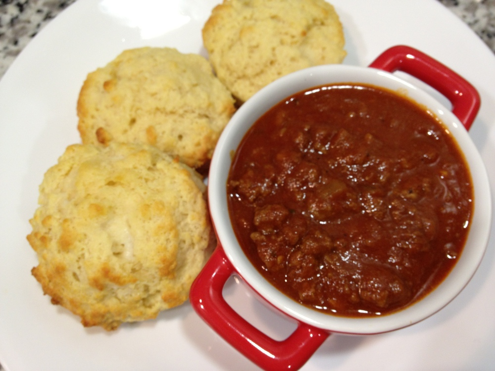 Homemade Chili and Buttermilk Biscuits