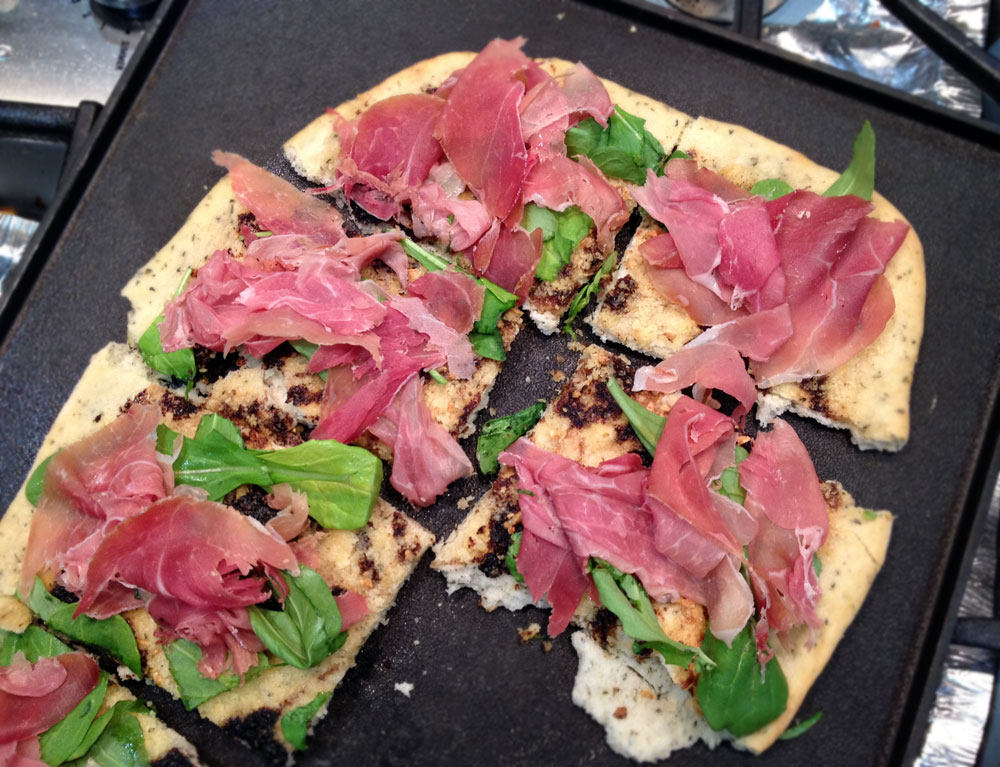5-Step PizzaProsciutto  Arugula Flatbread with Balsamic