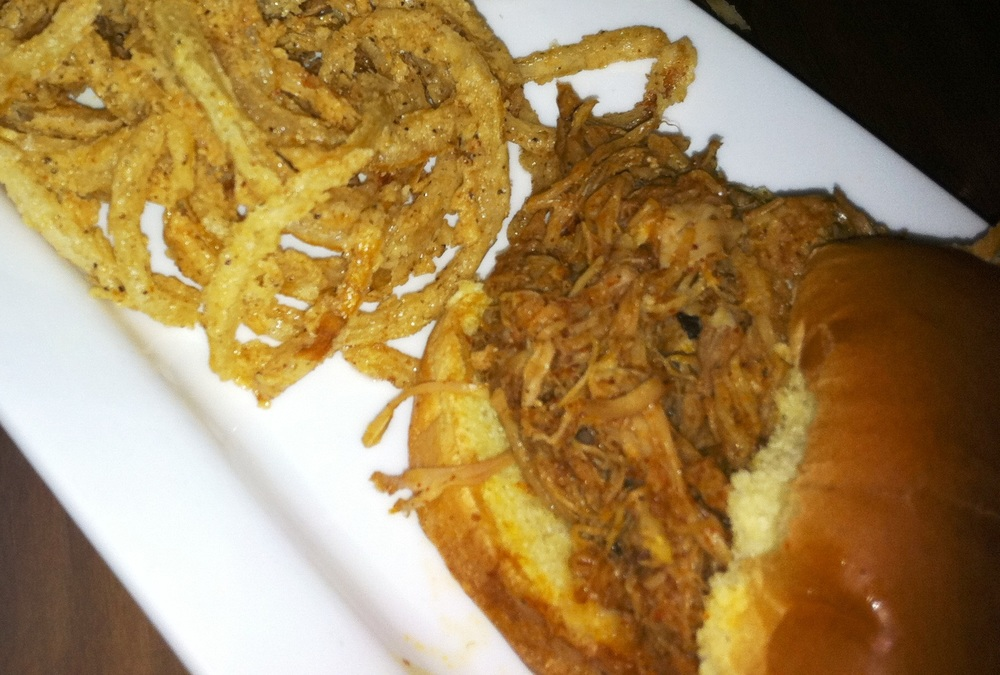 Pork Belly Slider with onion straws