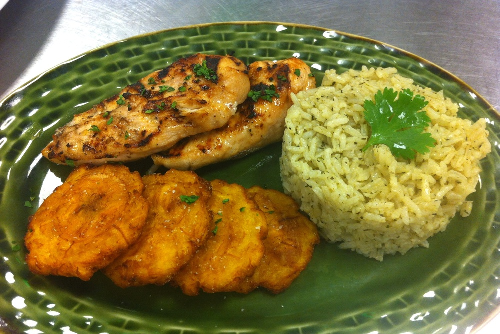 Peruvian Dinner: Grilled Chicken with Cilantro Rice and Fried Plantains
