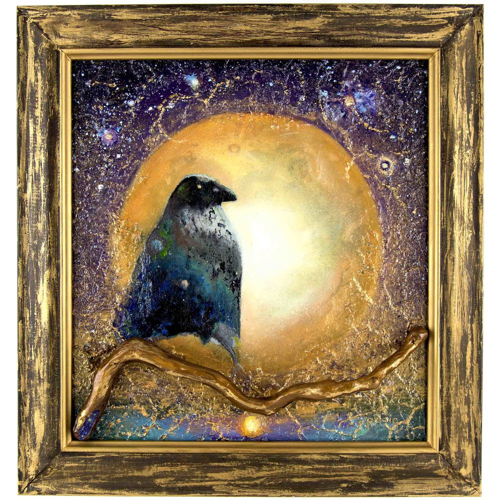 CELESTIAL RAVEN OIL ON BIRCH BOARD 12 X 12 IN THE PRIVATE COLLECTION OF REBECCA POTTER AND LIVING IN RESIDENCE AT THE CROW'S NEST