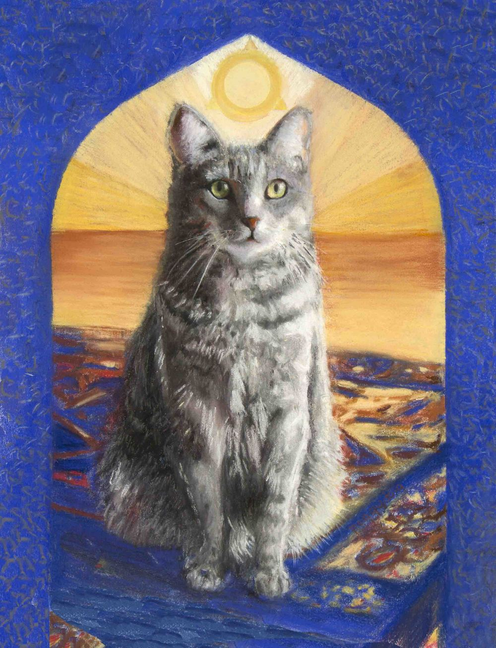 """TEMPLE OF BASTET PASTEL ON PAPER 12"""" X 14"""" AVAILABLE WITH GOLD FRAME"""