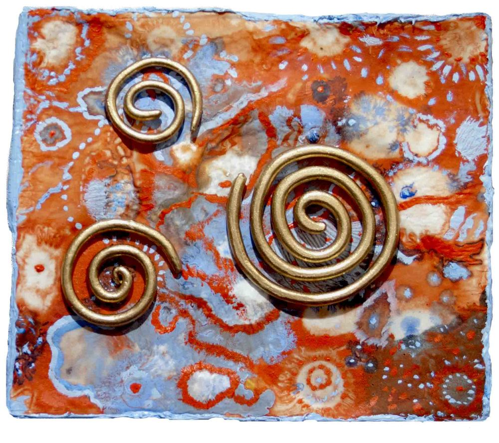 """GOLDEN SPIRALS: ACRYLIC ON BOARD 7"""" X 8"""" SOLD"""