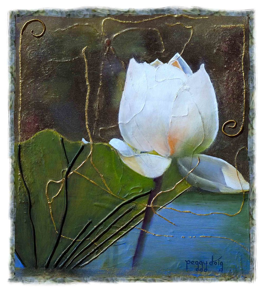 "LOTUS LIFE:  OIL ON EMULSION 12"" X 14"" SOLD"