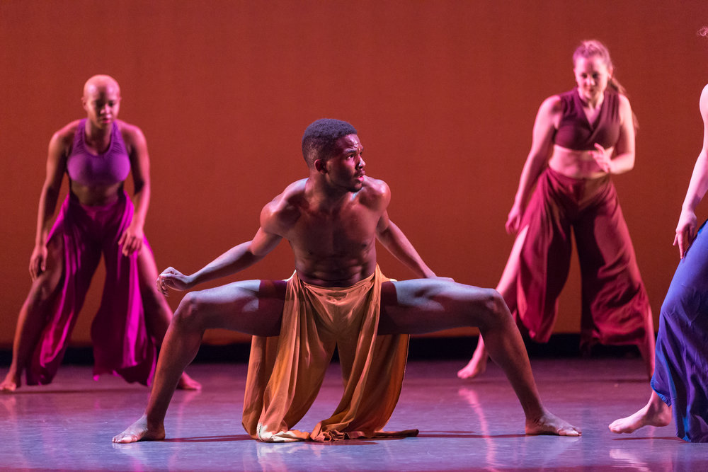 Photo Credit: Katie Ging Photography Choreography:Kiesha Lalama Artists:Terrell Rogers (Center), and the Conservatory Dance Company of Point Park Conservatory of Performing Arts.