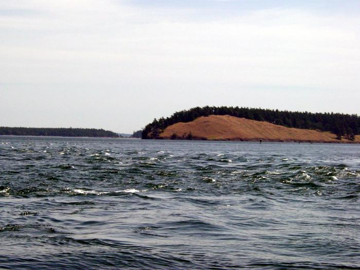 Strong and calm currents - within the same channel near Spiden Island, San Juan Islands, Washington State