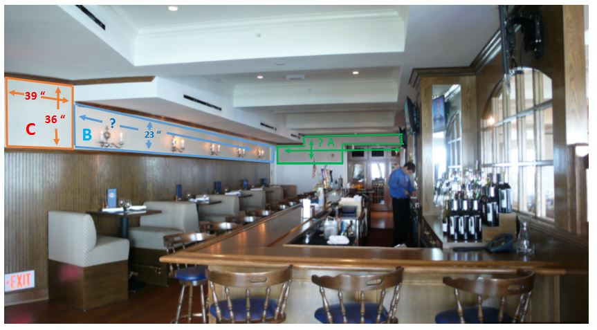 The restaurant had multiple walls with various size surfaces for their walls. Here is a partial layout plan we created for a portion of their murals.