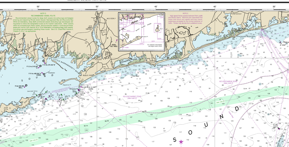 The chart of Long Island Sound, Rhode Island side, without color changes