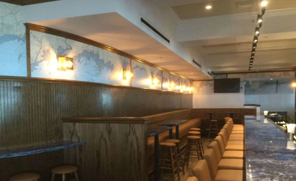 The Restaurant at Madison Beach Hotel/Restaurant in Madison Connecticut used large beadboard with our color-treated murals of the Connecticut coastline.