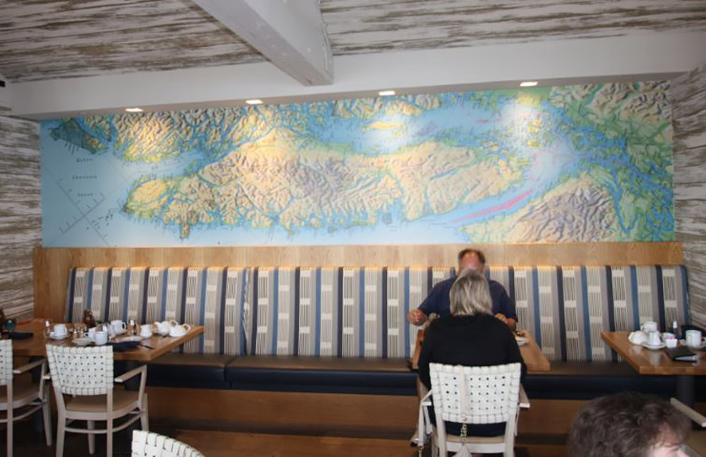 This spectacular mural of Vancouver Island is found in the restaurant at the Semiahmoo Resort in Blaine, Washington.