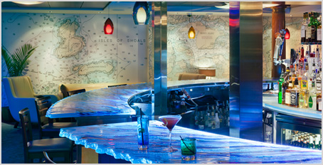 The bar at Martingale's Wharf in Portsmouth New Hampshire is nicely nautical with help from two Nautical Chart Murals.