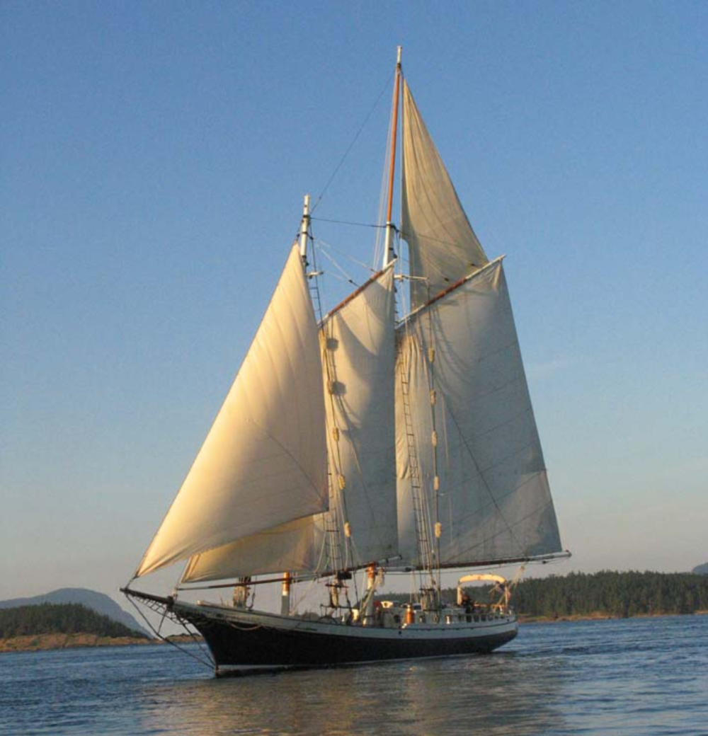 No longer helping Joe with his jump into the volcano, the Spike Africa (aka Tweedledee) is available for charter in the San Juan Islands.