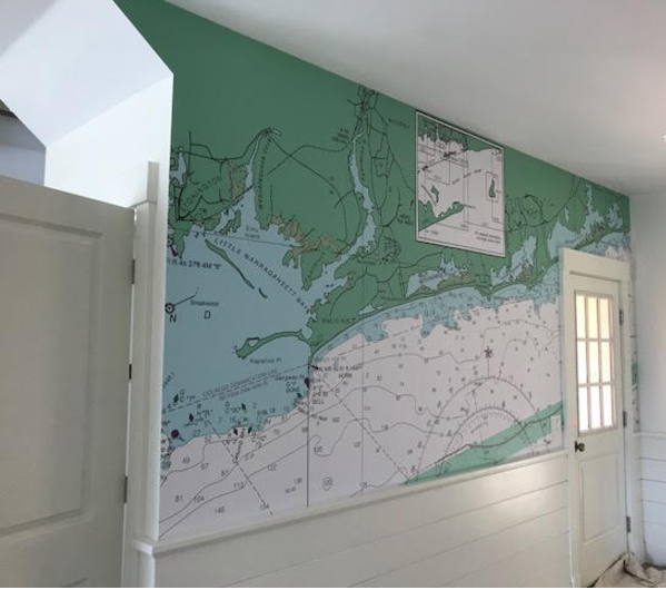 "Our client said, ""Rhode Island isn't tan, it's GREEN."" So she gave us a swatch of the exact green she wanted and we created this mural for her mudroom."