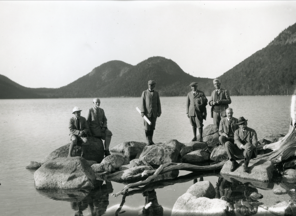 Historic photo of the founders of Acadia National Park near Bar Harbor, Maine.