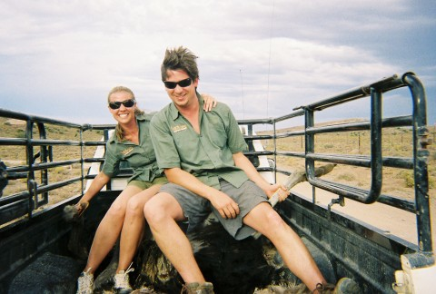 Tommy getting ready to feed anostrichto thewhite lions at theSanbona Reserve in South Africa