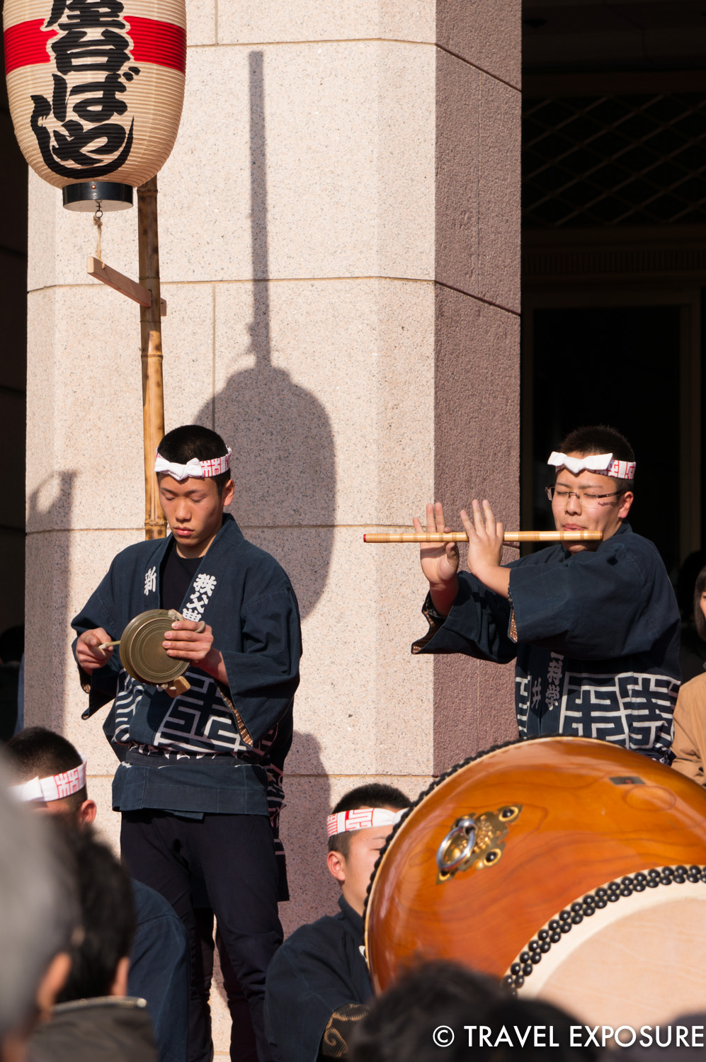 Taiko drum performance with flute at the Tokyo National Museum.
