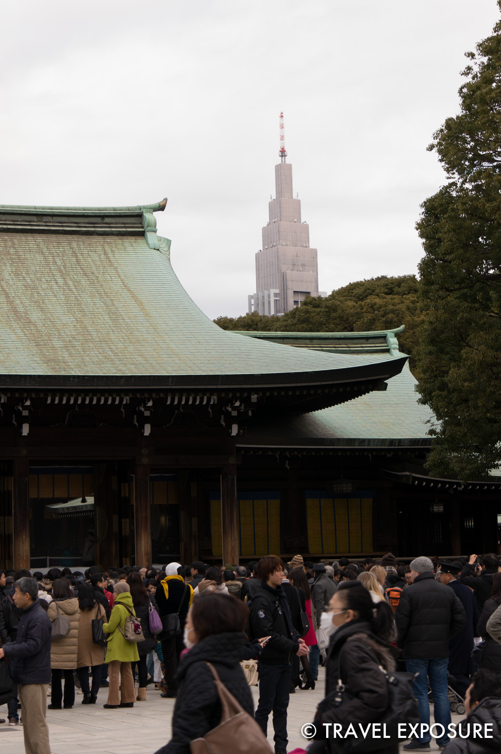 The Shinto Meiji Shrine is dedicated to the Emperor Meiji and his wife Empress Shoken. It's surrounded by a forest of some 100,000 trees planted by volunteers to honor their souls and contributions.