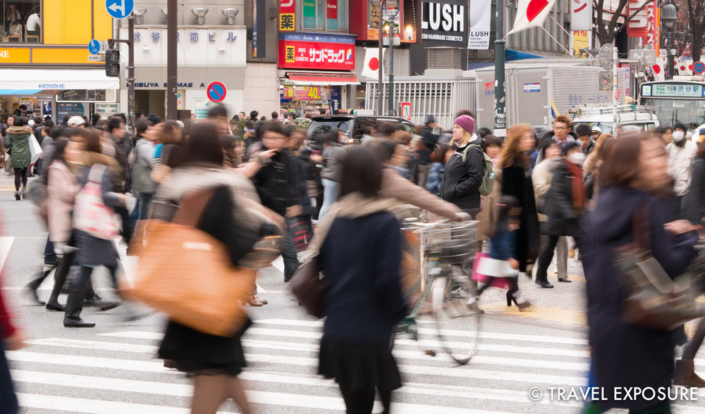 Beth stands in the midst of Shibuya Crossing, the busiest crosswalk in the world.
