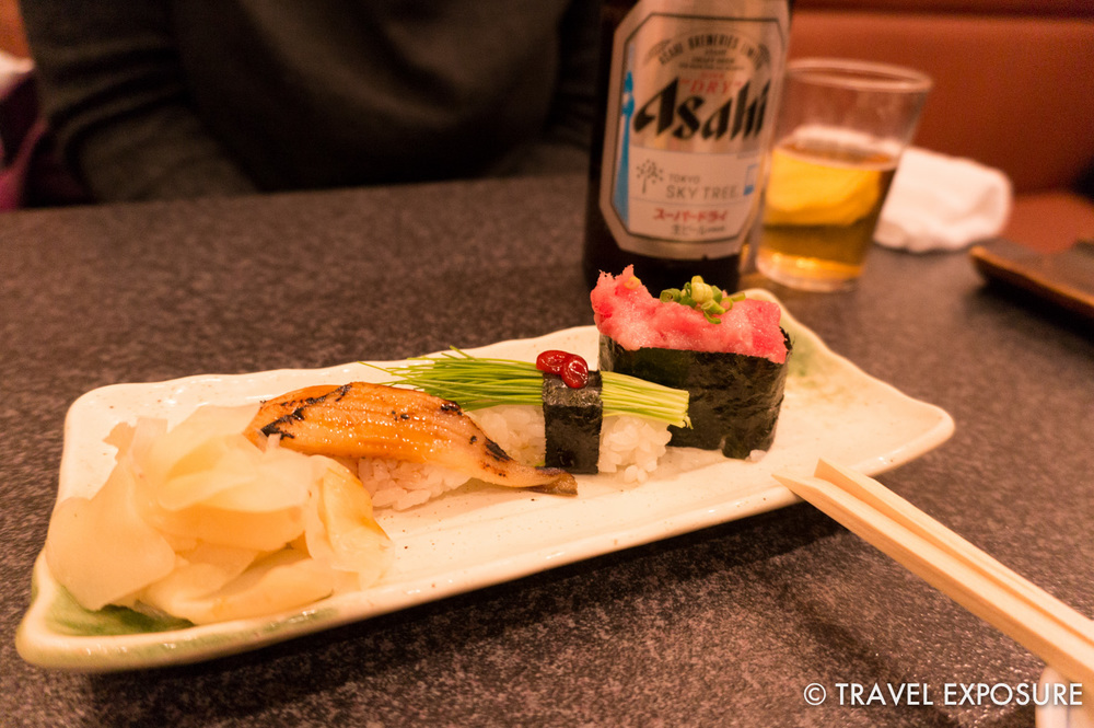 Beth loved the eel sushi, which she said had a delicate and very different flavor from the eel sushi back home.