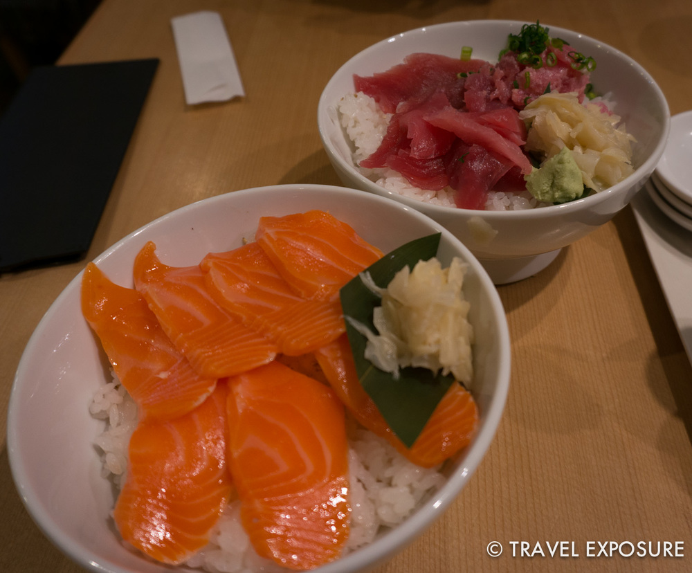 Near the Tsukiji fish market, we found a small sushi restaurant hidden in an alley. The tuna and salmon were so fresh and incredible.
