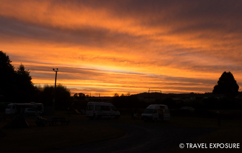 Sunset at campsite in Otorohanga
