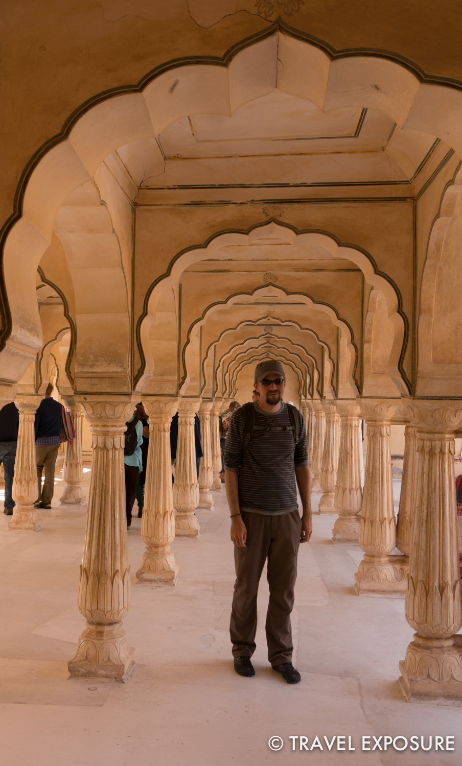 At Amber Fort: More scalloped arches (love these!) with lotus detail in the columns.