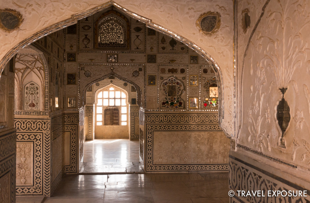 The famous Sheesh Mahal (Mirror Palace) at Amber Fort was built for the queen, who was not allowed to sleep in open air but loved to see the stars. With just a single candle lit and reflected in all the tiny intricate mirrors, the entire room lights up.