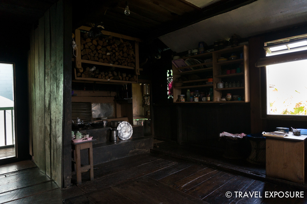 The kitchen/dining area, with an old wood-burning stove - amazing!