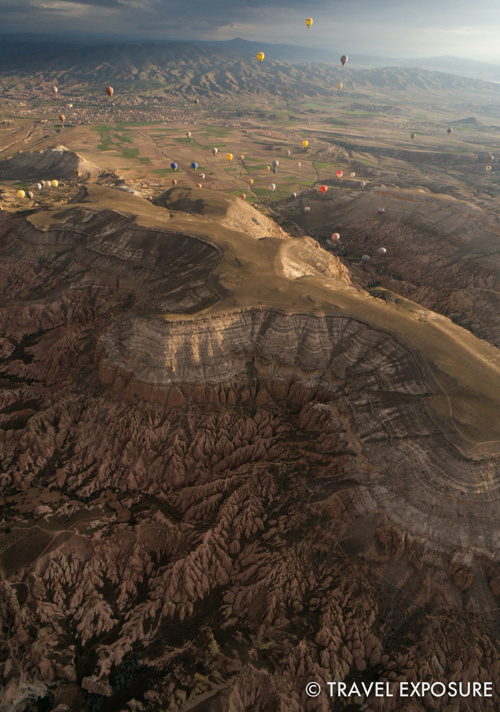 WEEK OF APRIL 28 Looking down at the spectacular landscape at sunrise, from a hot air balloon in Cappadocia, Turkey.
