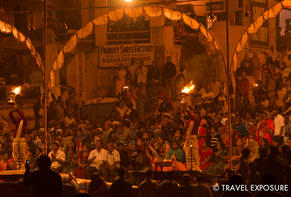 The evening ceremony is performed every sunset as an offering to Lord Shiva and the Goddess Ganga of the Ganges river.  Saffron robed scholars wave incense and flaming lamps synchronized to rhythmic chants and music.