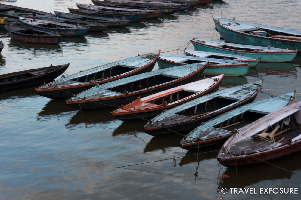 Boats tied up on the Ganges river in Varanasi