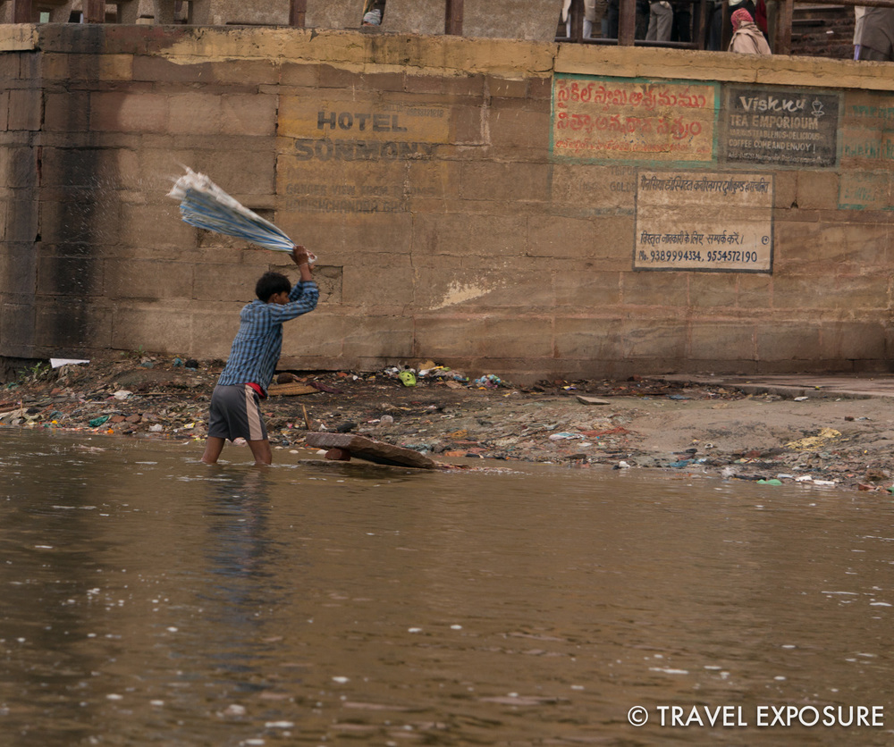 Washing clothes in the Ganges in Varanasi