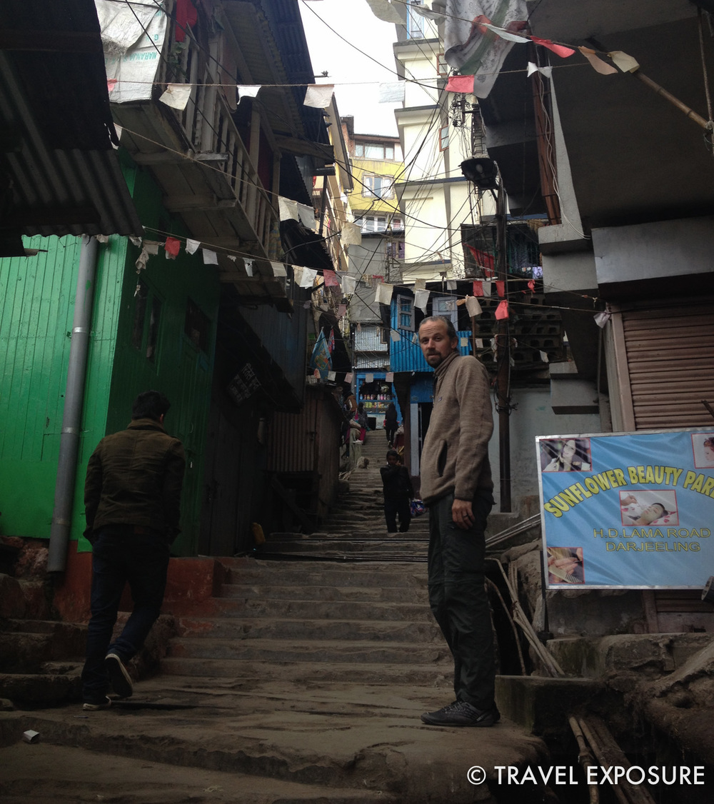 Getting our exercise walking around the steep streets and stairways of Darjeeling.