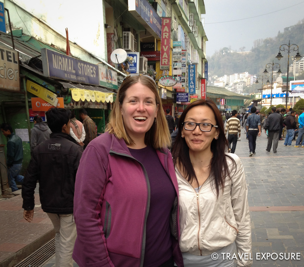 Beth andChiphel in downtown Gangtok, Sikkim