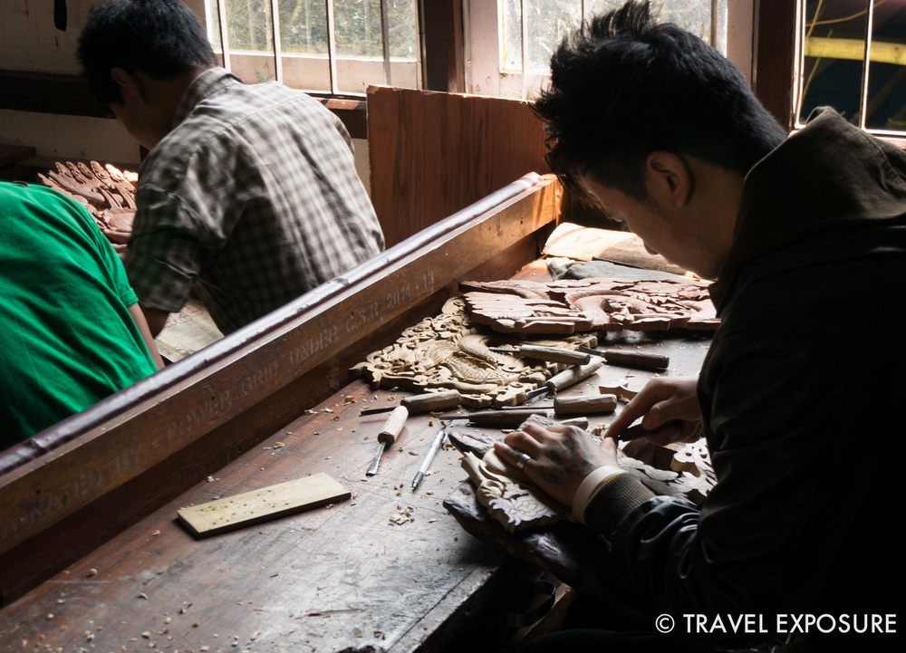 A student practicing woodcarving in Gangtok, Sikkim