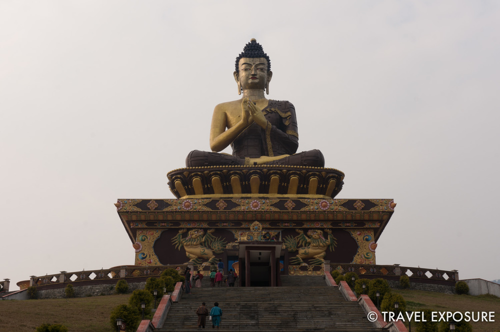 The Buddha Park of Ravangla in Sikkim features a 130-foot high statue of the Buddha