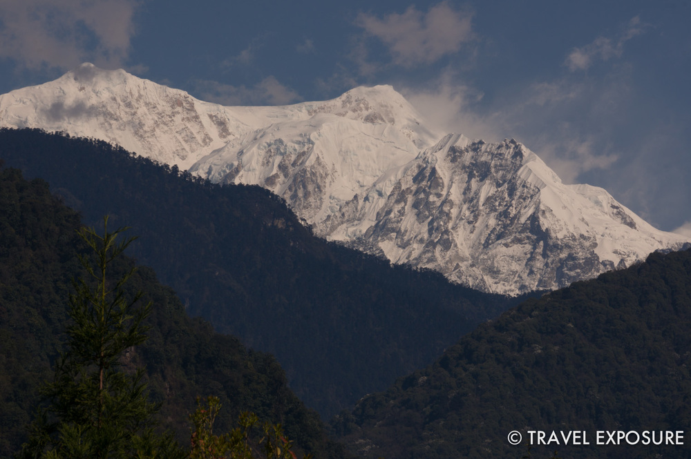 Mount Kabru, part of the Himalayan range, stands at 24,000 feet on the border of Sikkim, India and eastern Nepal