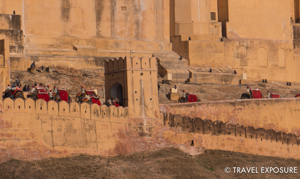 Tourists riding elephants up to the Amber Fort/Palace in Jaipur