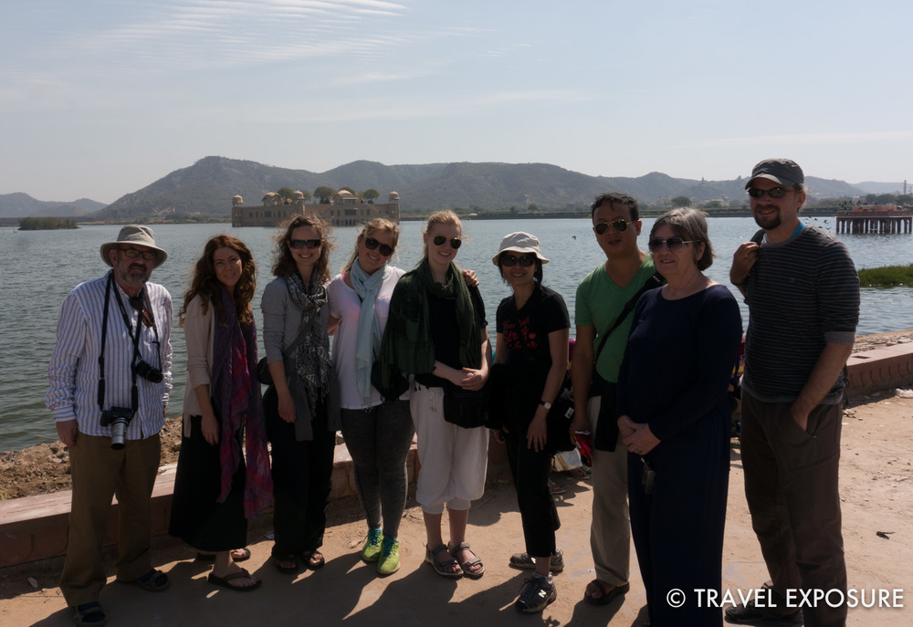 Our tour group at the Jal Mahal Jaipur, the Water Palace