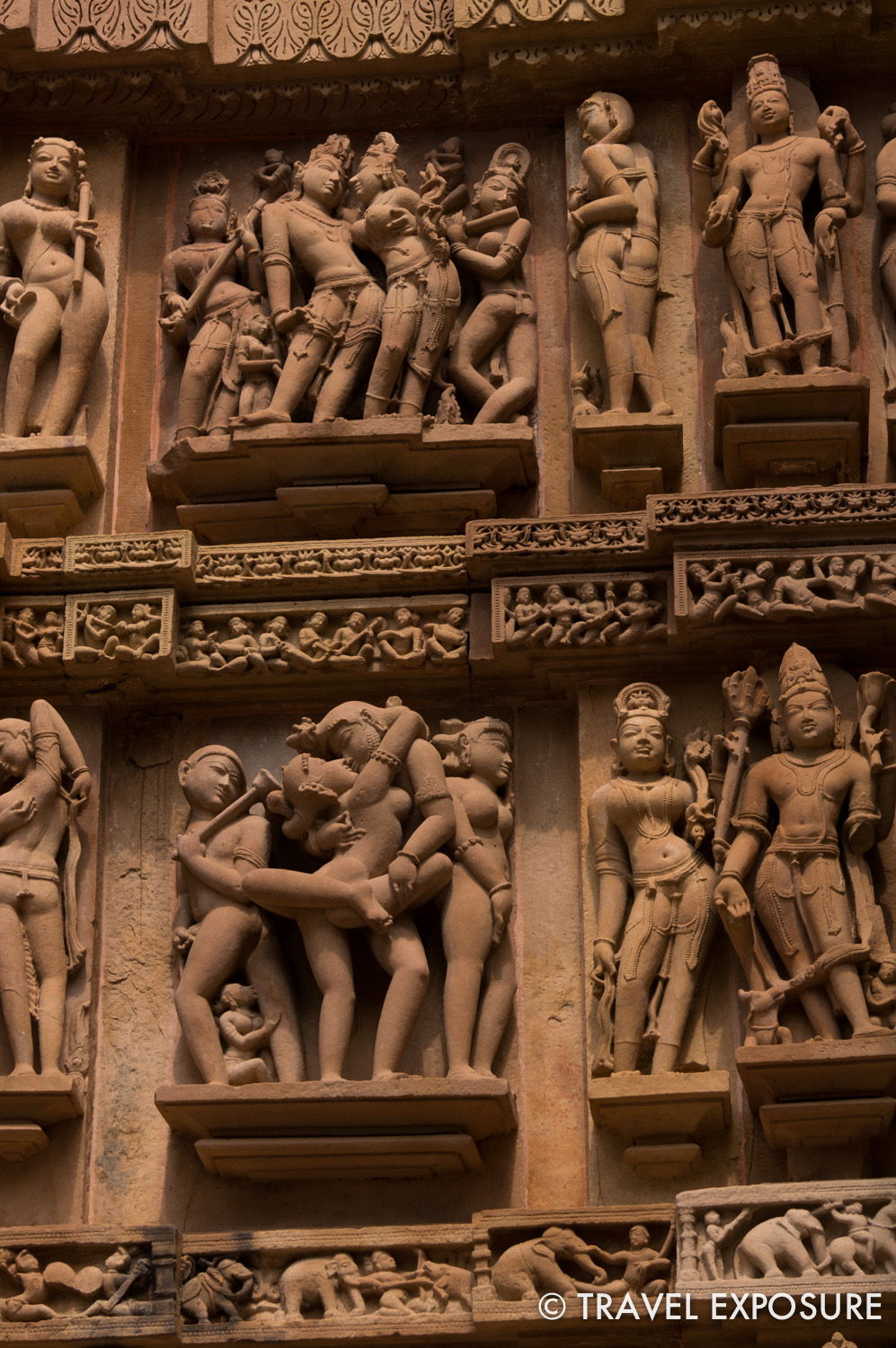 The  Hindu and Jain  temples at Khajuraho. Most werebuilt between 950 and 1050. They are beautifully  decorated  and  famous for their erotic sculptures depicting scenes from the Kama Sutra.