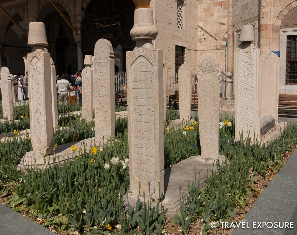Tombstones outside Rumi's mausoleum.