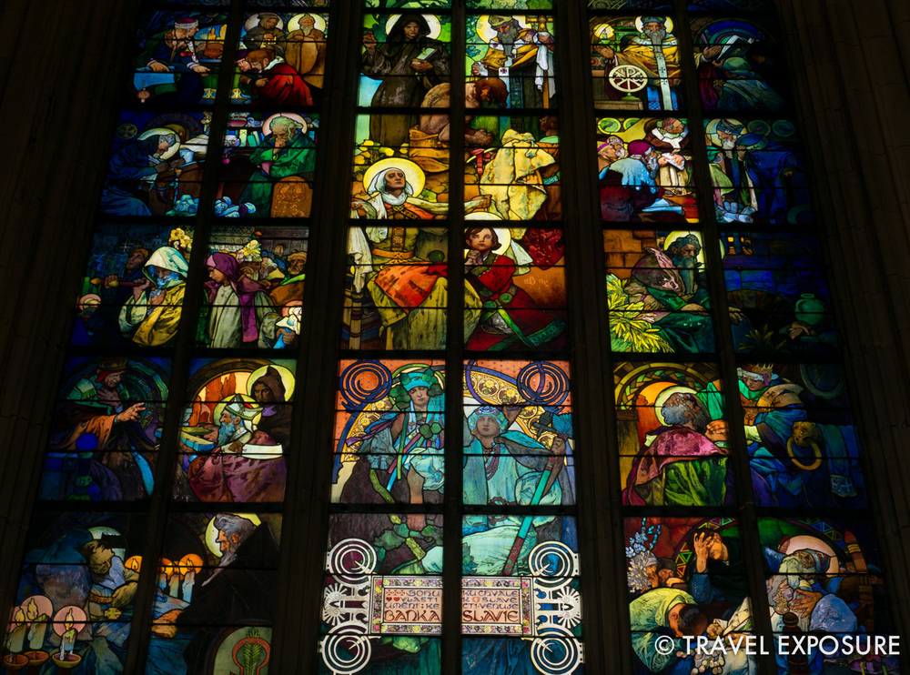 Mucha's window in the St. Vitus Cathedral