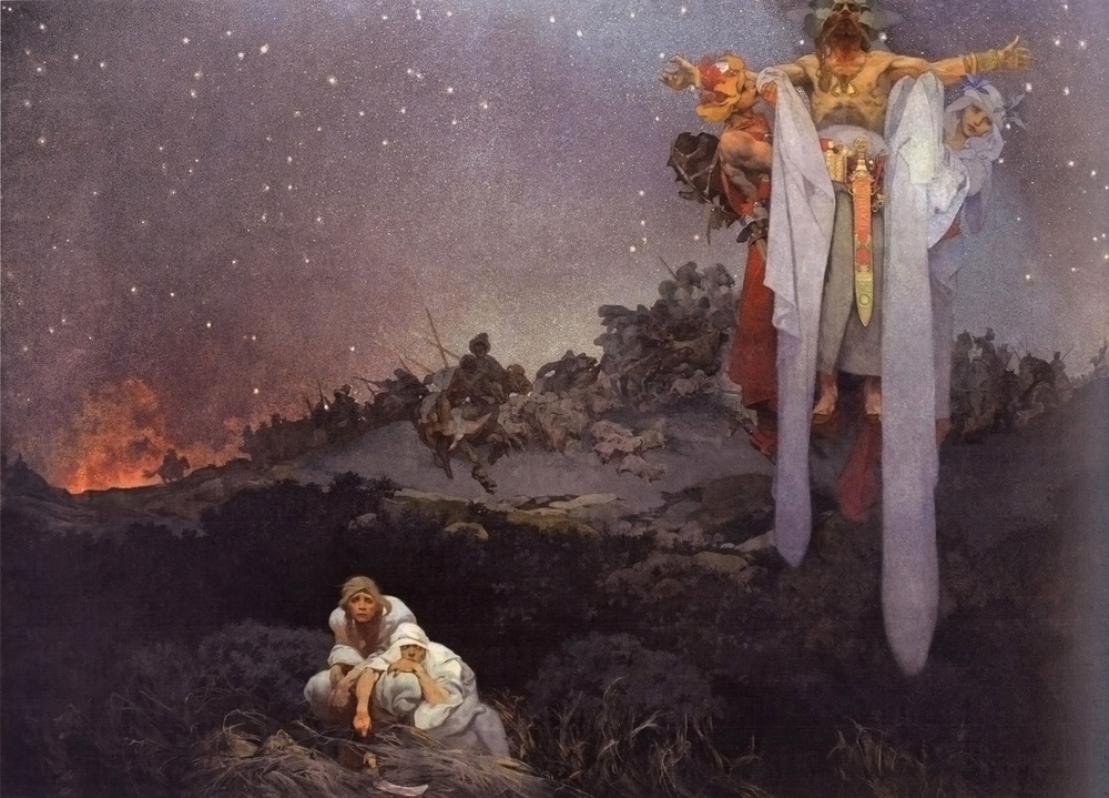 """Part of the Slav Epic series, """"The Slavs in Their Original Homeland"""" portrays the Slavs crouched down in fear in the foreground while hostile hordes on the hill behind them art invade the village. A floating Pagan priest is flanked by a young man and woman who symbolize war and peace. -------------  """" Slovane v pravlasti 81x61m """" by  Alfons Mucha  - Licensed under Public domain via  Wikimedia Commons"""