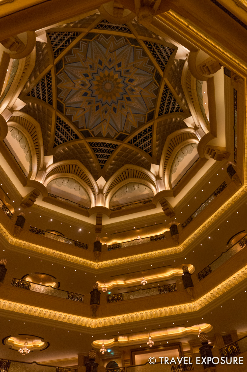 Inside the glittery 7-star Emirates Palace hotel in Abu Dhabi.
