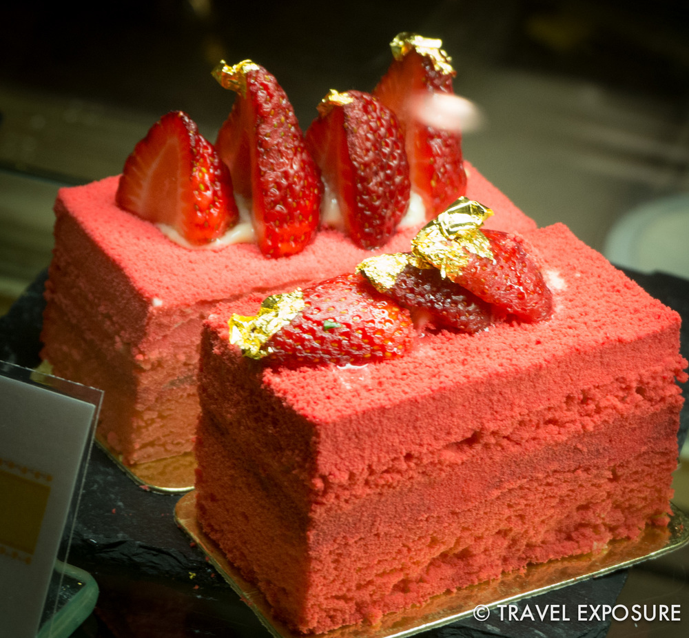 Gold topped strawberry cake at the glittery 7-star Emirates Palace hotel in Abu Dhabi.